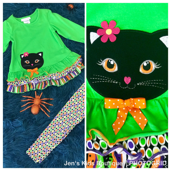 Bonnie Jean fancy cat tunic with leggings H - JEN'S KIDS BOUTIQUE