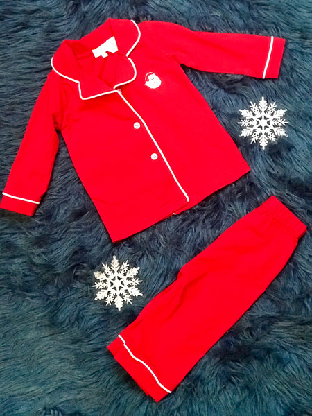 Holiday Fun Christmas Button Up Pajamas With Santa - JEN'S KIDS BOUTIQUE