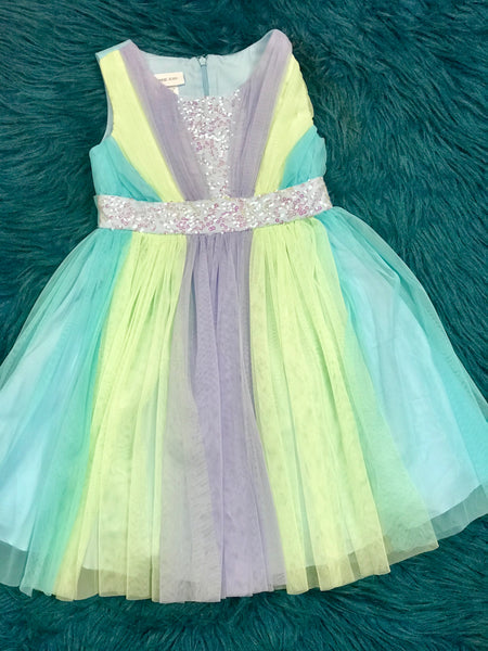 SPRING & SUMMER MIXED BLUE & LIME BONNIE JEAN KIRA SEQUIN TULLE DRESS - JEN'S KIDS BOUTIQUE