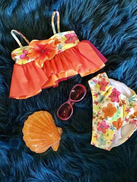 Summer Apple Blossom By Isobella & Chloe Orange Floral Two Piece Swimsuit S - JEN'S KIDS BOUTIQUE