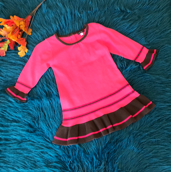 Rabbit Moon Hot Pink & Brown Sweater - JEN'S KIDS BOUTIQUE