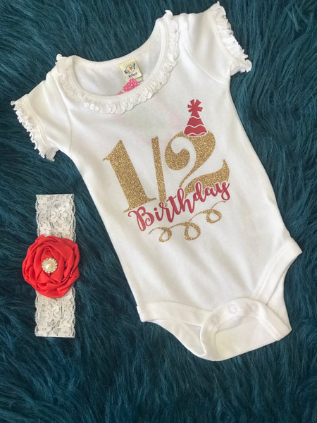 1/2 Birthday White Onesie Gold & Red - JEN'S KIDS BOUTIQUE