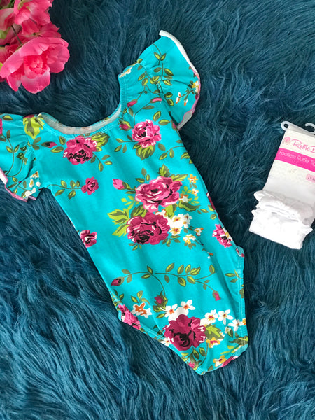 Aqua & Floral Dance Leotard - JEN'S KIDS BOUTIQUE