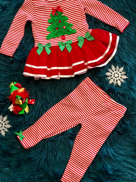 Christmas Red Stripped Christmas Tree Tutu Set CH - JEN'S KIDS BOUTIQUE