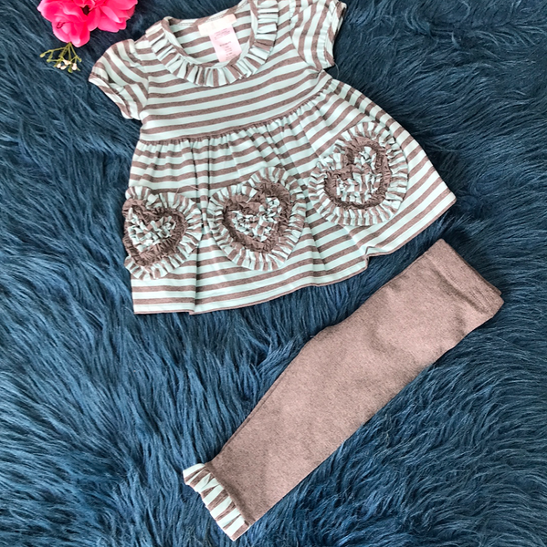 Bonnie Jean Blue & Grey Stripped Heart Legging Set - JEN'S KIDS BOUTIQUE