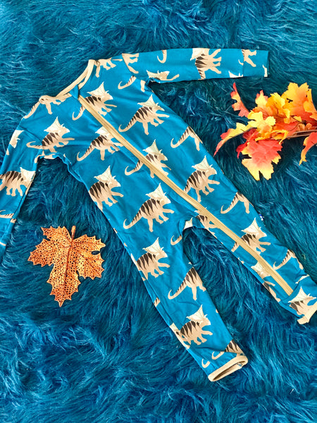New Fall Kickee Pants Coverall With Zipper (Heritage Blue Koamoceratops) - JEN'S KIDS BOUTIQUE