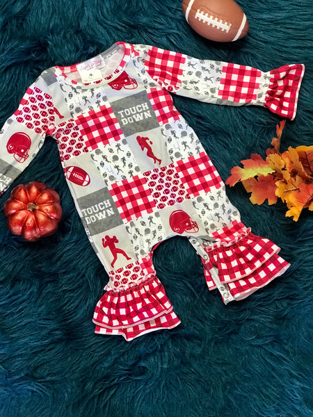 New Fall Red Crimsom Football Long Sleeve Romper - JEN'S KIDS BOUTIQUE