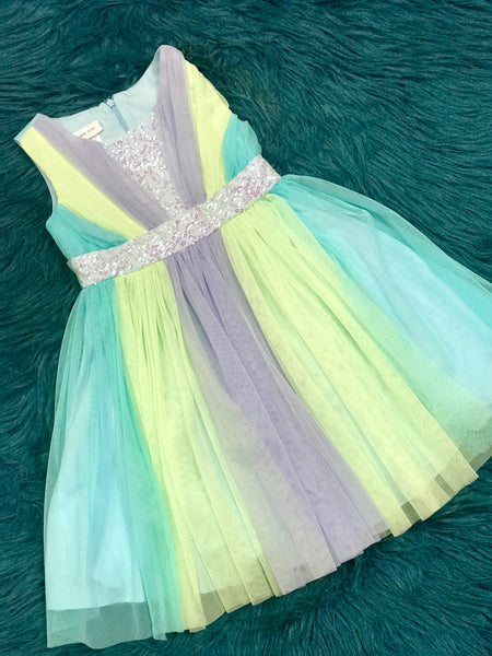 2019 SPRING & SUMMER MIXED BLUE & LIME BONNIE JEAN KIRA SEQUIN TULLE DRESS - JEN'S KIDS BOUTIQUE