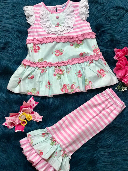 Three Sisters Spring Shabby Rose BiB Capri Set - JEN'S KIDS BOUTIQUE