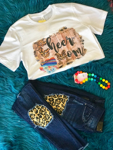 Fall Fun Cheetah Print Cheer Mom T-Shirt - JEN'S KIDS BOUTIQUE