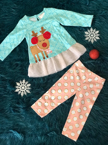 2018 Christmas Blue Reindeer With Polka Dot Pants Set - JEN'S KIDS BOUTIQUE