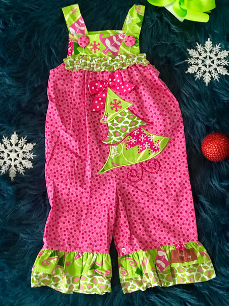 Mille Jay Christmas In Pink Christmas Tree Romper - JEN'S KIDS BOUTIQUE