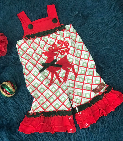 New Christmas Millie Jay Regal Reindeer App Jay Romper - JEN'S KIDS BOUTIQUE