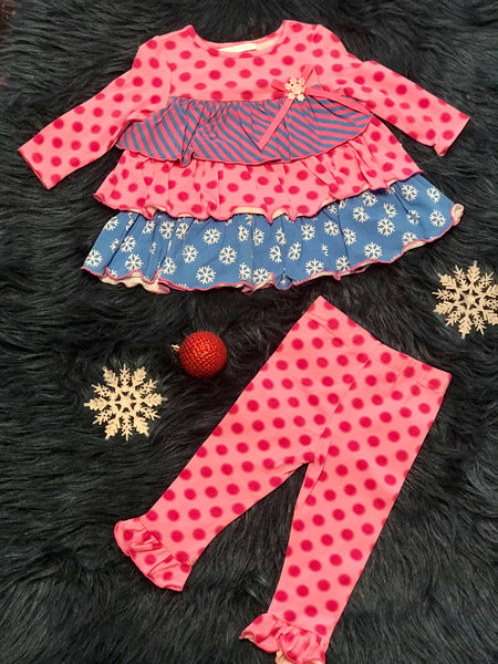 Christmas Bonnie J Pink & Blue Snowflake Pant Set - JEN'S KIDS BOUTIQUE
