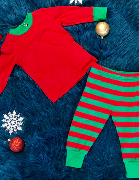 Serendipity Fall Christmas Red & Green Stripped Pajamas - JEN'S KIDS BOUTIQUE