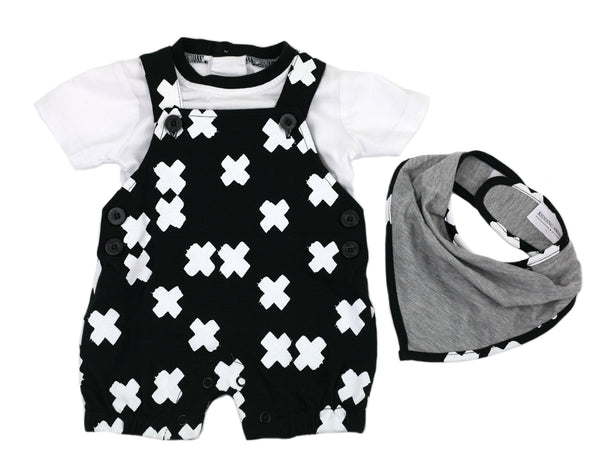 Spring Just Kidding Around Boys Three Piece Shortall Set With Bib - JEN'S KIDS BOUTIQUE