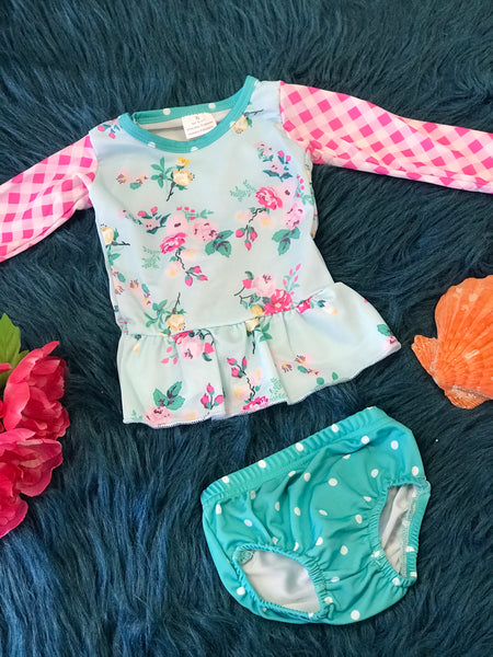 Summer Mixed Roses Two Piece Rash Guard Swimsuit - JEN'S KIDS BOUTIQUE