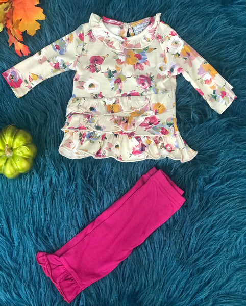 Three Sisters Special Princess Hazel Floral & Plum Two Piece Set - JEN'S KIDS BOUTIQUE