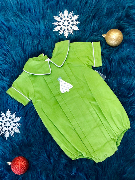 Zuccini Adorable Christmas Boys Tree Infant Bubble Romper CH - JEN'S KIDS BOUTIQUE