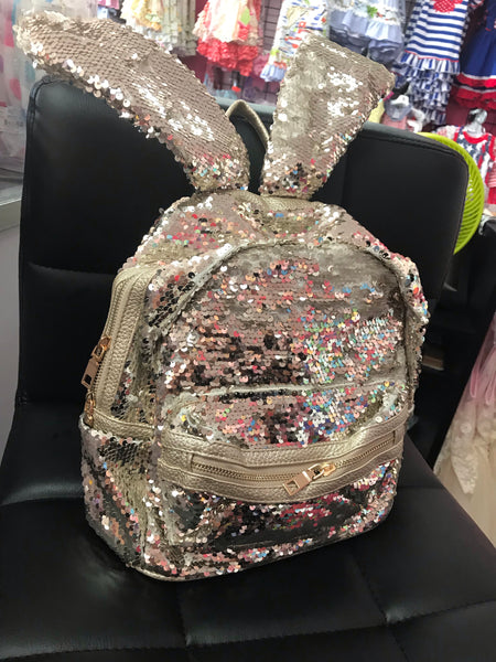 Unique Bunny Ear Gold Sequin Flashy Fashion Backpack - JEN'S KIDS BOUTIQUE