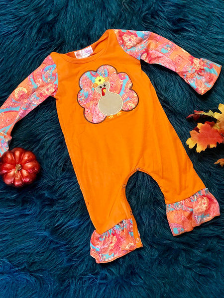 New Fall Turkey Long Sleeve Romper - JEN'S KIDS BOUTIQUE