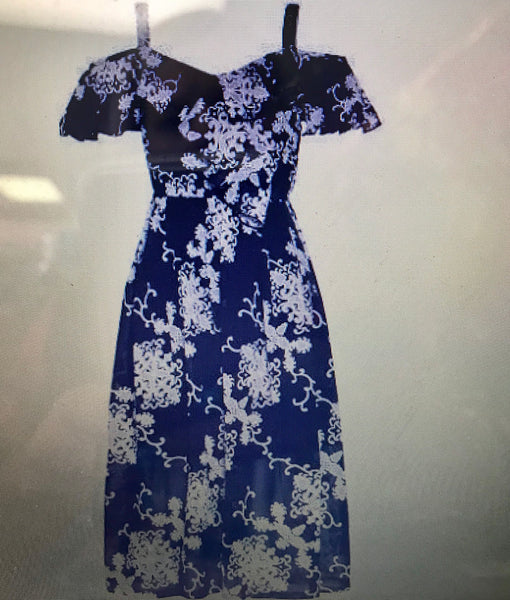 Back To School Girls Cold Shoulder Navy & White Floral Dress