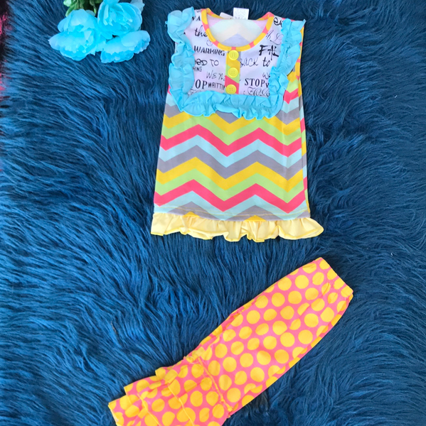Colorful Chevron & Worded Top w/ Polka Dot Pants CLS
