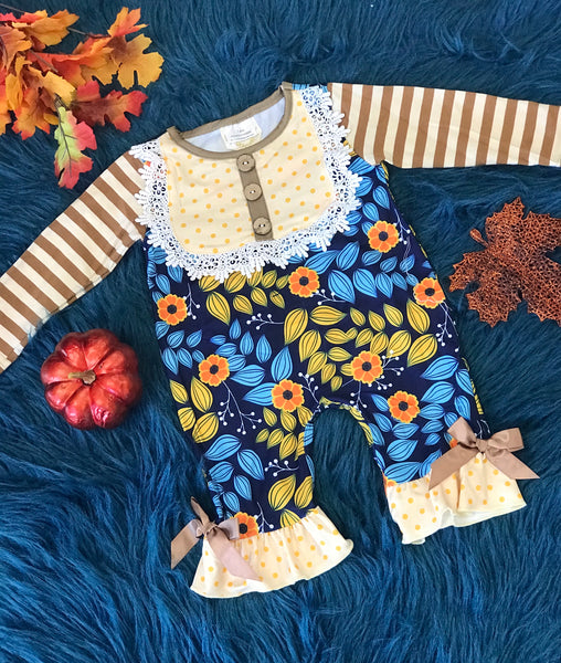 New Fall Mixed Blessings Mustard Stripe Floral Infant Romper - JEN'S KIDS BOUTIQUE