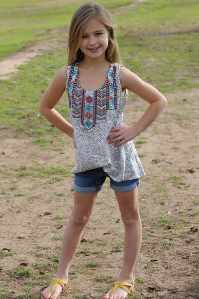 Spring adorable Feather Tribal Sleeveless Shirt - JEN'S KIDS BOUTIQUE