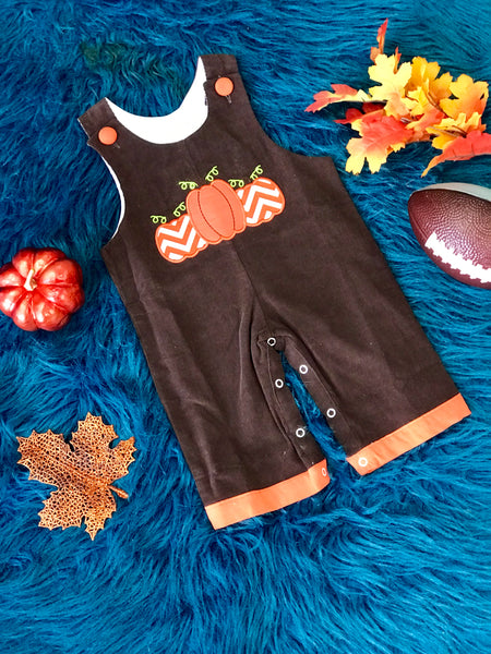 B & A Fall Thanksgiving Pumpkin Bow Boys Romper TCL - JEN'S KIDS BOUTIQUE