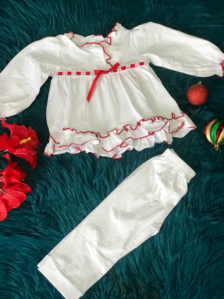 New Christmas Holiday White Princess Cotton Pajamas - JEN'S KIDS BOUTIQUE