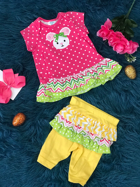 Peaches N Cream Easter Polka Dot & Chevron Bunny Infant Ruffle Bloomer Set C - JEN'S KIDS BOUTIQUE