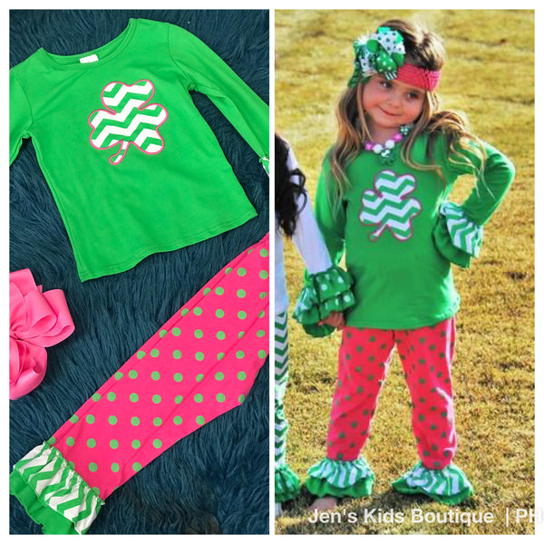 Saint Patrick Day Pink/Green Chevron Pant Set P - JEN'S KIDS BOUTIQUE