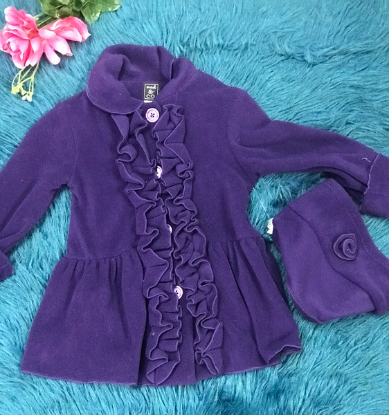 Mack And Company Purple Ruffle Down Front Coat With Matching Hat - JEN'S KIDS BOUTIQUE