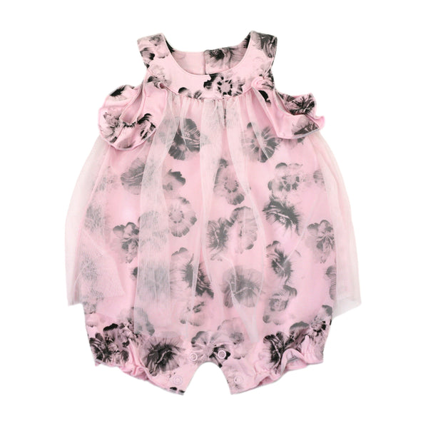 2018 Spring Just Kidding Around Monotone Pink Floral Dress Romper With Tulle Overlay - JEN'S KIDS BOUTIQUE