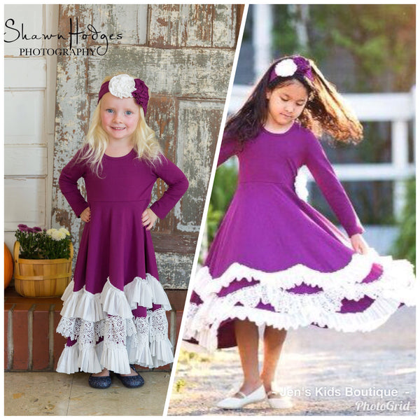 2018 Fall Serendipity Plum Maxi Twirl Dress With Ruffles - JEN'S KIDS BOUTIQUE