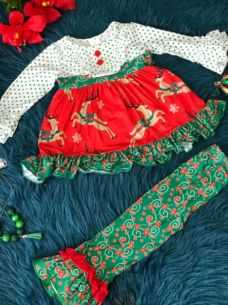 New Christmas Magical Reindeer Mixed Pant Set C - JEN'S KIDS BOUTIQUE
