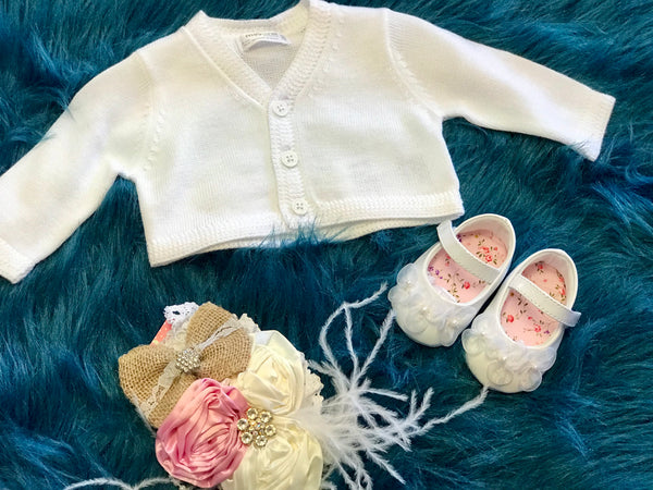 2018 Mayoral Baby White Crochet Sweater - JEN'S KIDS BOUTIQUE