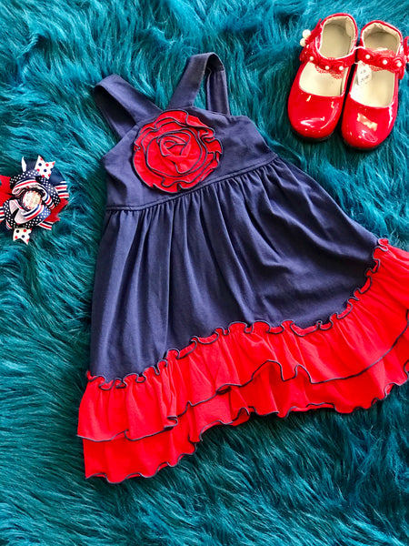 Millie Jay Spring Navy/Red Sleeveless Dress - JEN'S KIDS BOUTIQUE