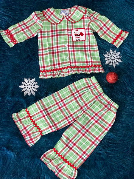 Christmas Three Sisters Santa's Toy Bag Smocked Girls Pajamas CH - JEN'S KIDS BOUTIQUE