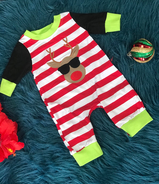 New Christmas Infant Boys Red Stripped Reindeer Romper - JEN'S KIDS BOUTIQUE