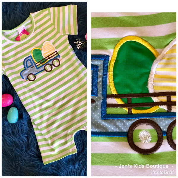 Spring Boys Easter Green Stripped Eggs In Truck Jon Jon - JEN'S KIDS BOUTIQUE