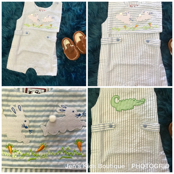 2018 Cotton Kids Spring Boys Easter Bunny Romper - JEN'S KIDS BOUTIQUE