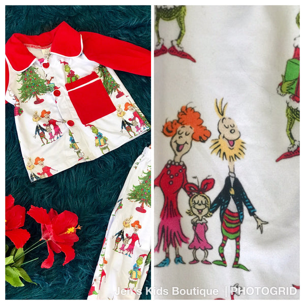 New Fall Christmas Boys Grinch On Parade Pjs - JEN'S KIDS BOUTIQUE