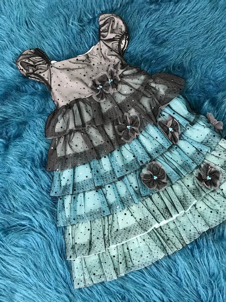 Isobella & Chloe Black & Turquoise Ruffle & Flower Dress CH - JEN'S KIDS BOUTIQUE