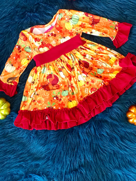 2018 Fall Unicorn & Pumpkin  Dress - JEN'S KIDS BOUTIQUE