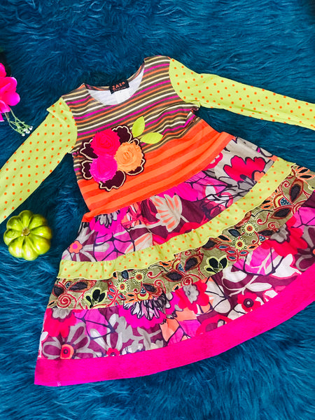 Fall ZaZa Couture Mixed Orange Green & Flower Dress CLF - JEN'S KIDS BOUTIQUE