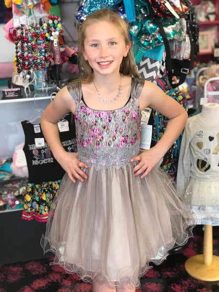 Spring Elegant Silver Rose Sleeveless Dress - JEN'S KIDS BOUTIQUE