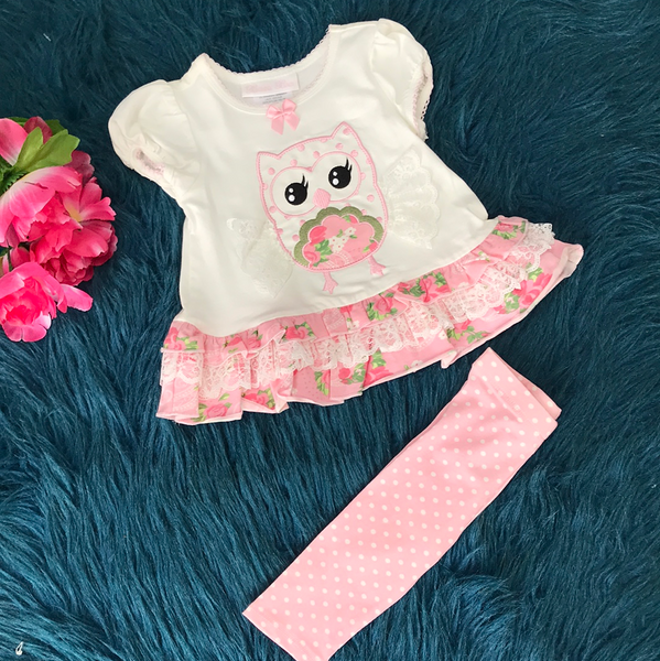 Bonnie Baby Pink Floral Owl Legging Set CLS - JEN'S KIDS BOUTIQUE