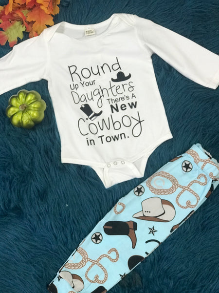New Cowboy In Town Infant Three Piece Outfit - JEN'S KIDS BOUTIQUE